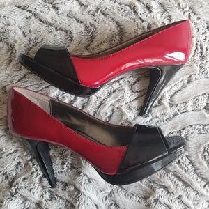 Bandolino black and red peep toe high heels 8
